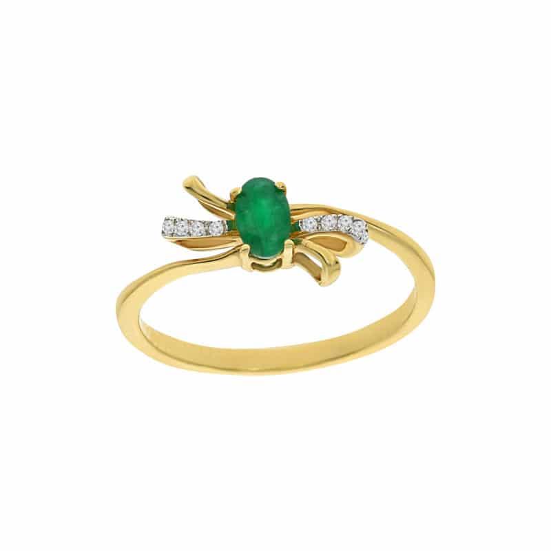 טבעת אמרלד 0.23 קראט, זהב-צהוב 14 קראט, משובצת יהלומים
