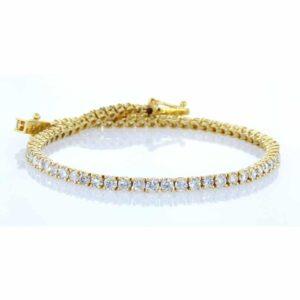צמיד טניס יהלומים 4 קראט זהב צהוב