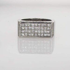 טבעת יהלומים זהב לבן 18 קראט