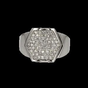 טבעת מעוצבת זהב-לבן 18 קראט, משובצת יהלומים