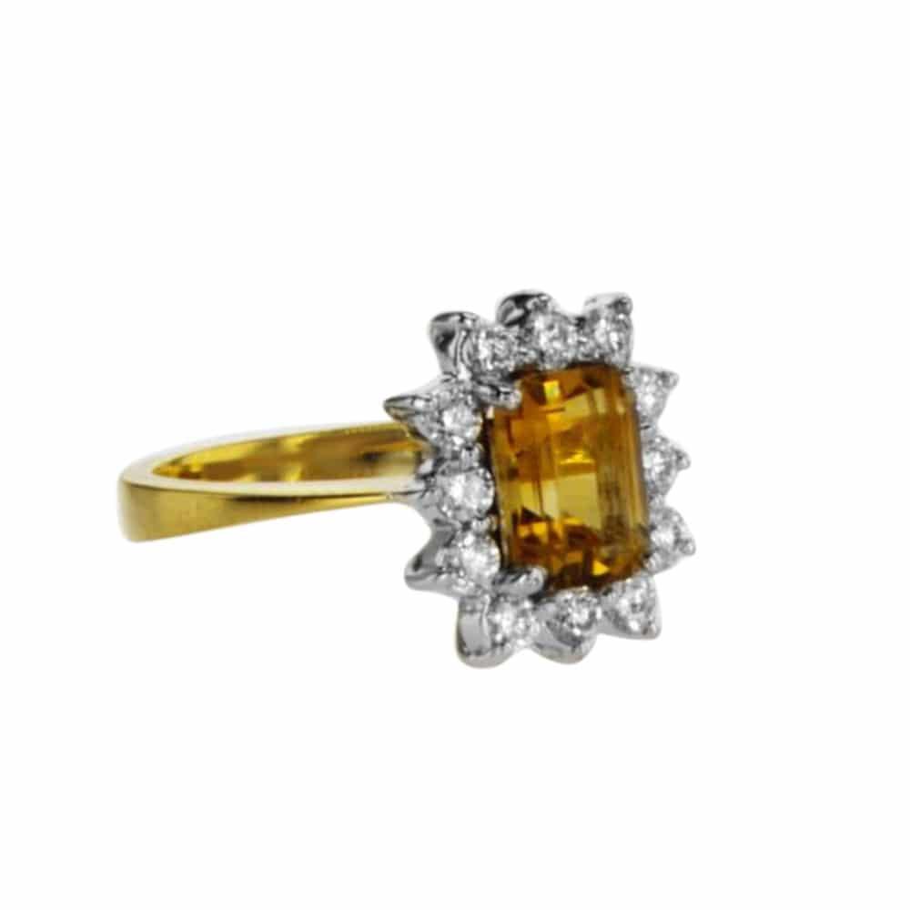 טבעת אבן סיטרין, 1.52 קראט, זהב-צהוב 14 קראט, משובצת 0.54 קראט יהלומים