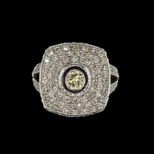 טבעת זהב-לבן 18 קראט, משובצת יהלום פנסי קולור