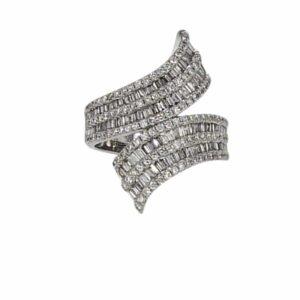 טבעת יהלומים דגם ארבל, זהב לבן 14 קראט, יהלומים 1.82 קראט