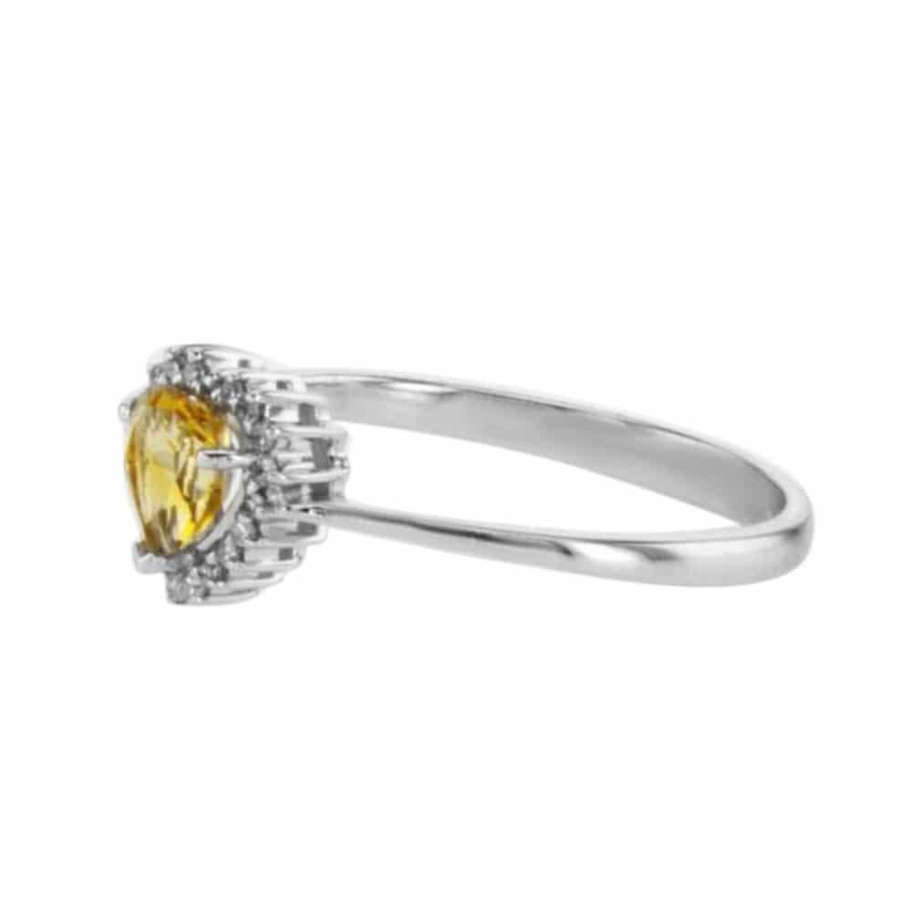 טבעת אבן סיטרין  0.36 קראט, זהב-לבן 14 קראט, משובצת 0.07 קראט יהלומים