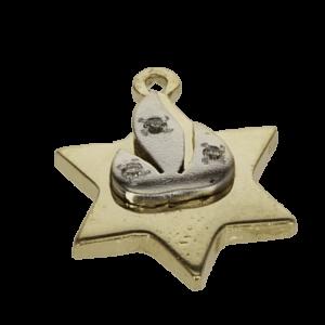 תליון מגן דוד מיוחד, זהב-צהוב 14 קראט, בשיבוץ יהלומים