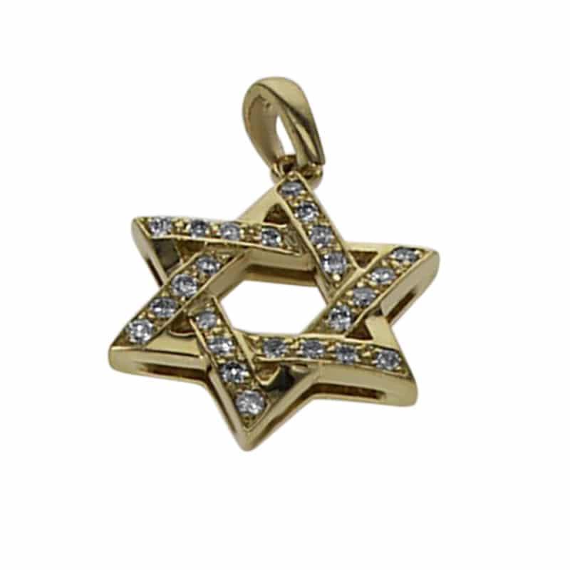 תליון מגן דוד, זהב-צהוב 14 קראט, בשיבוץ יהלום 0.02 קראט