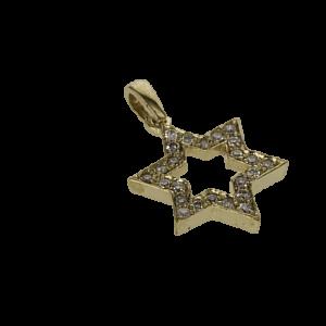 תליון מגן דוד, זהב-צהוב 14 קראט, בשיבוץ 0.20 קראט יהלומים