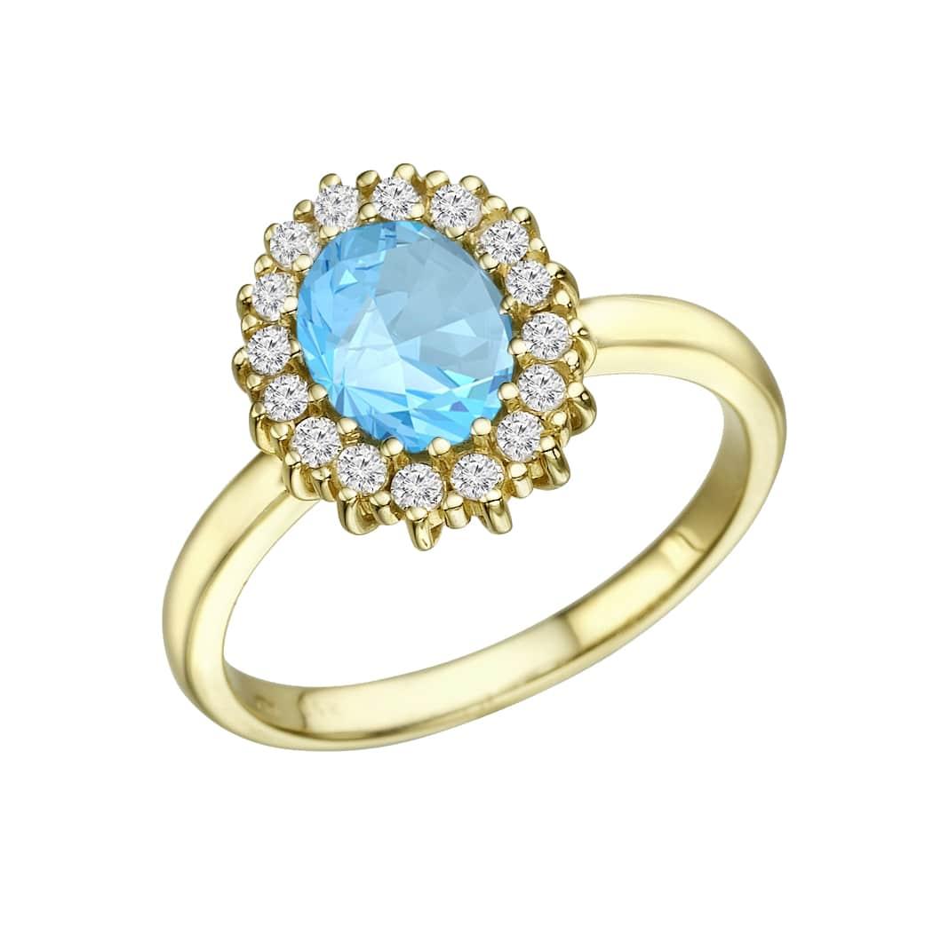 טבעת אקווה מרין 1.02 קראט, זהב-צהוב 14 קראט, בשיבוץ 0.33 יהלומים