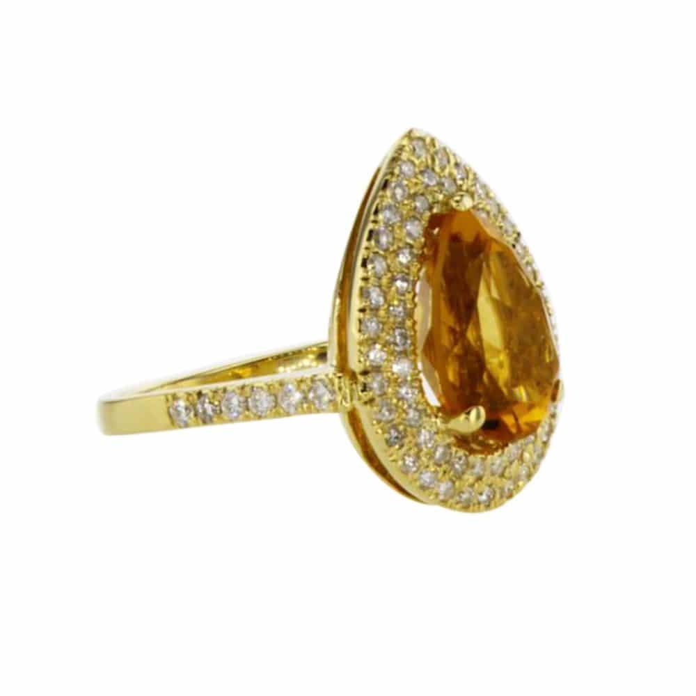 טבעת סיטרין 3.42 קראט, זהב-לבן 18 קראט, משובצת 0.48 קראט יהלומים