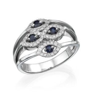 טבעת ספיר 0.32 קראט, זהב-לבן 14 קראט, משובצת 0.28 קראט יהלומים