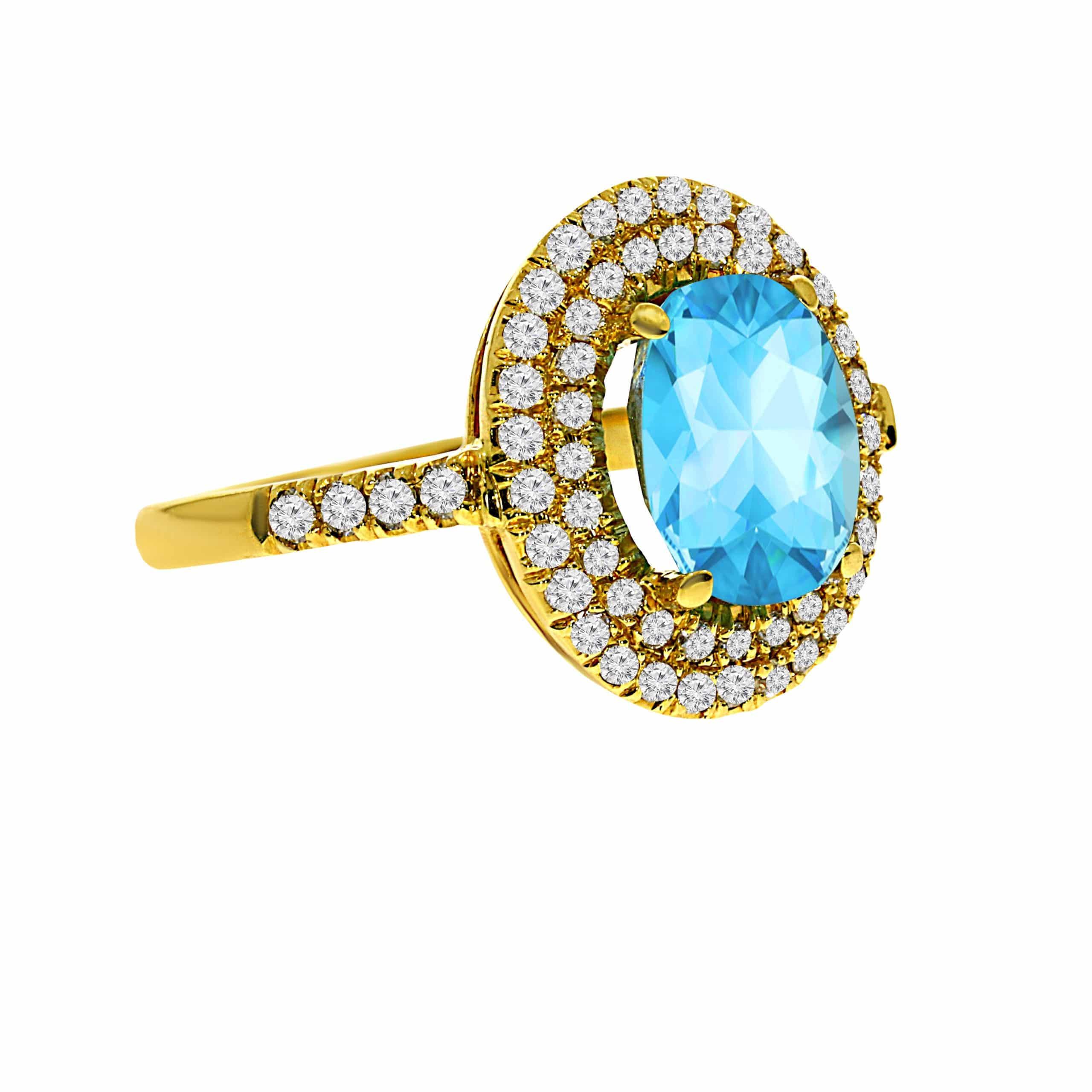 טבעת בלו טופז 3.37 קראט, זהב-צהוב 14 קראט, בשיבוץ 0.70 קראט יהלומים