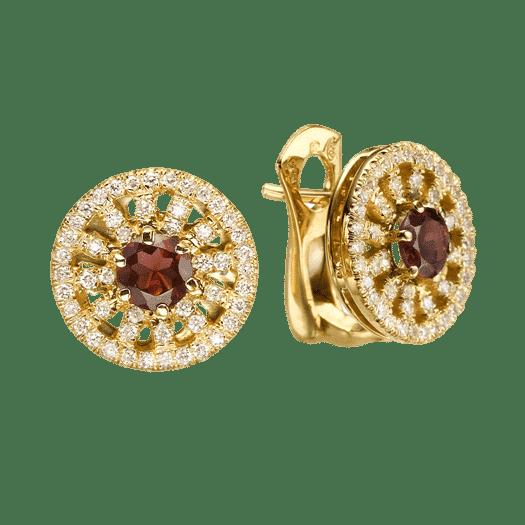 עגילי אבן גארנט 1.10 קראט, זהב-צהוב 14 קראט, משובצים יהלומים