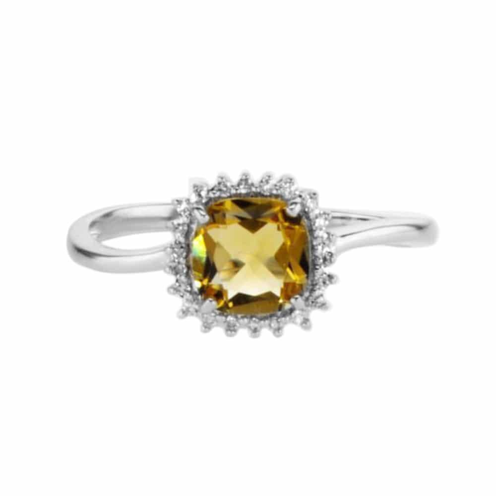 טבעת סיטרין 0.67 קראט, זהב-לבן 18 קראט, משובצת 0.48 קראט יהלומים