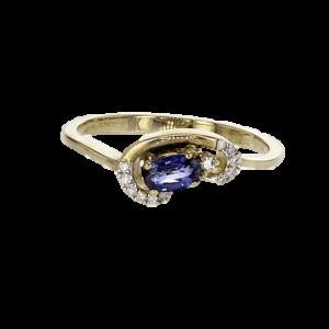 טבעת ספיר 0.04 קראט, זהב-צהוב 14 קראט, משובצת יהלומים