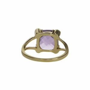 טבעת אמטיסט 3.25 קראט, זהב-צהוב 14 קראט, משובצת יהלומים