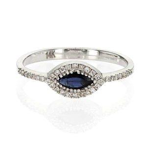 טבעת ספיר 0.25 קראט, זהב-לבן 14 קראט, משובצת 0.10 קראט יהלומים