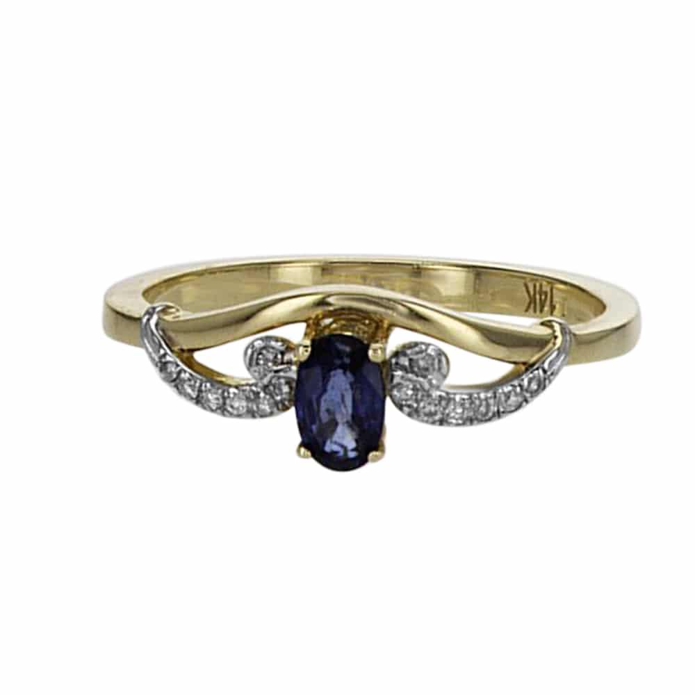 טבעת ספיר 0.30 קראט משובצת 0.05 יהלומים זהב צהוב 14 קראט