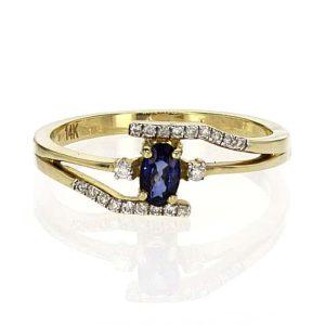 טבעת ספיר 0.27 קראט, זהב-צהוב 14 קראט, משובצת 0.09 קראט יהלומים