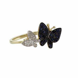 טבעת ספיר 0.33 קראט בצורת פרפר, זהב-צהוב 14 קראט, משובצת יהלומים