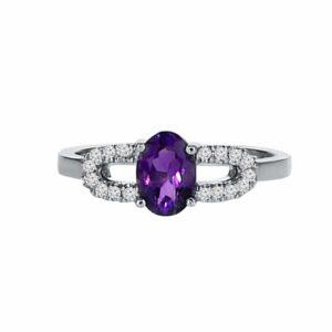 טבעת אמטיסט 0.78 קראט, זהב-לבן 14 קראט, משובצת 0.11 קראט יהלומים