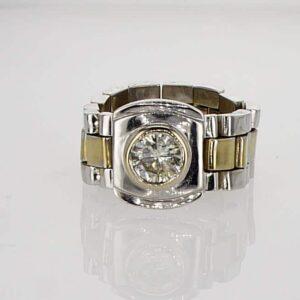 טבעת יהלום בשילוב זהב לבן וצהוב 14 קראט