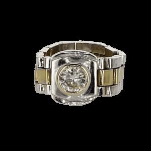 טבעת זהב-לבן וזהב-צהוב 14 קראט, משובצת יהלום
