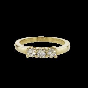 טבעת חצי נישואין, זהב-צהוב 14 קראט, משובצת יהלומים