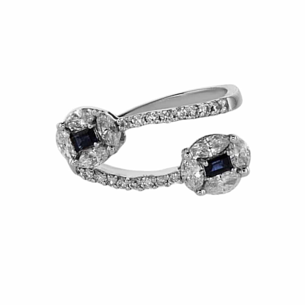 טבעת ספיר 2.10 קראט, זהב-לבן 14 קראט, משובצת 1.40 קראט יהלומים
