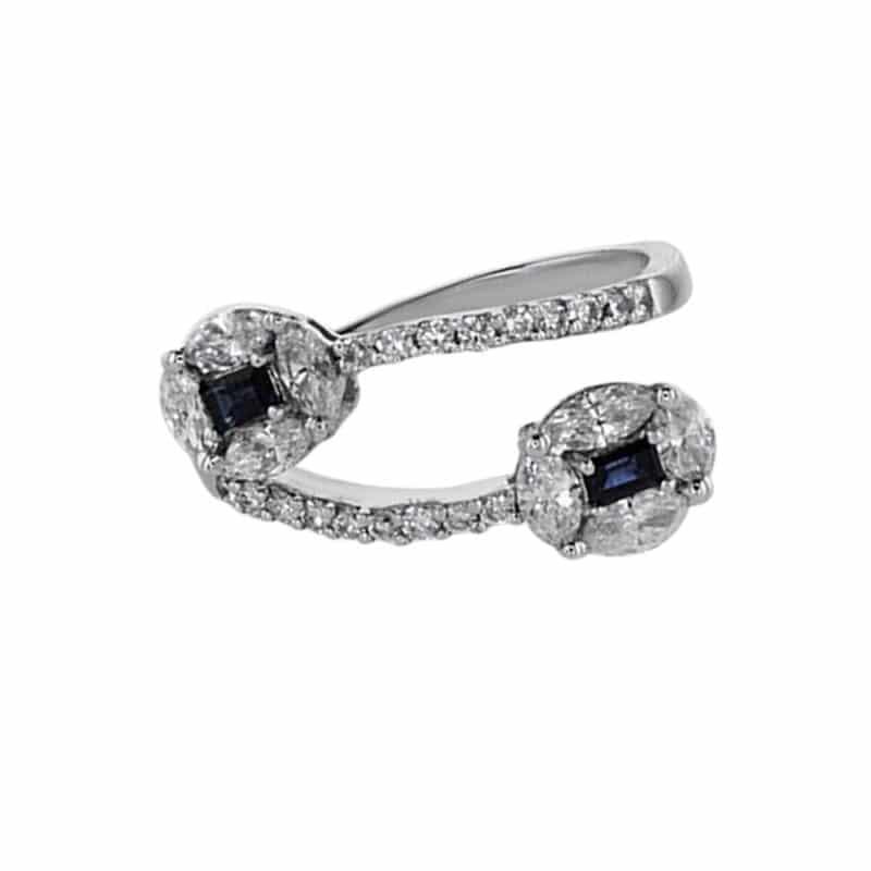 טבעת ספיר 0.20 קראט, זהב-לבן 14 קראט, משובצת יהלומים