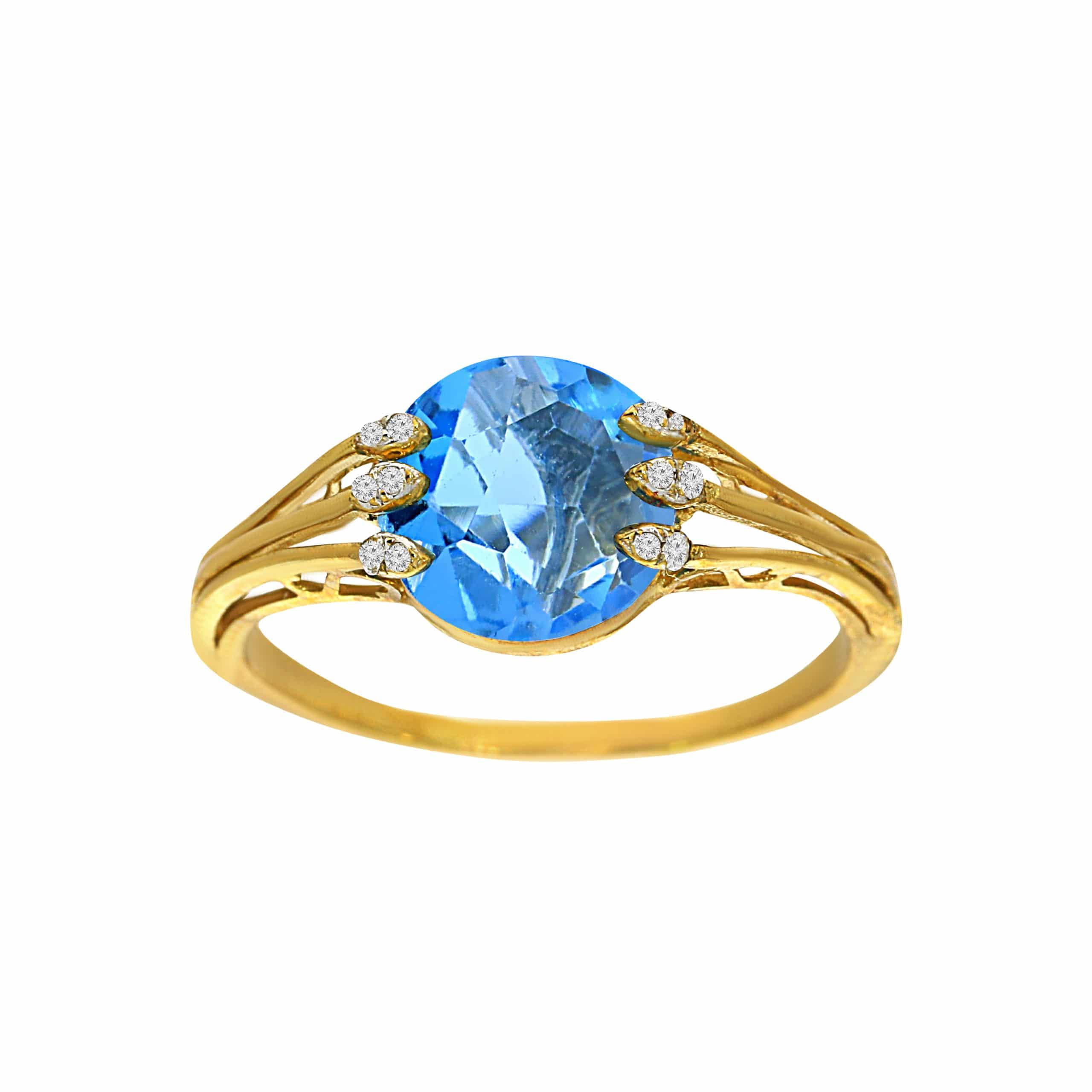 טבעת בלו טופז 1.45 קראט, זהב-צהוב 14 קראט, בשיבוץ 0.10 קראט יהלומים