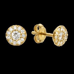 עגילי יהלומים 0.50 קראט, זהב-לבן או זהב-צהוב 14 קראט