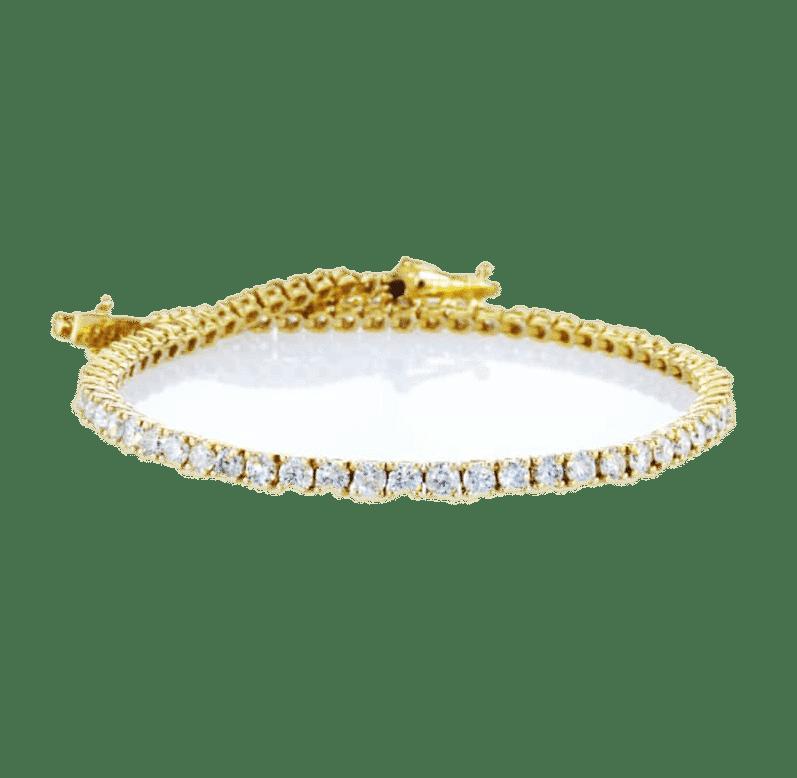 צמיד טניס יהלומים 4.0 קראט, זהב-צהוב 14 קראט