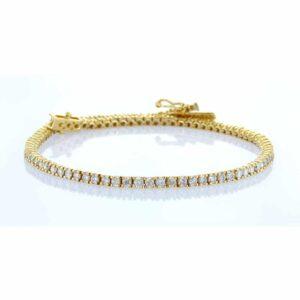 צמיד טניס יהלומים 3 קראט זהב צהוב 14 קראט