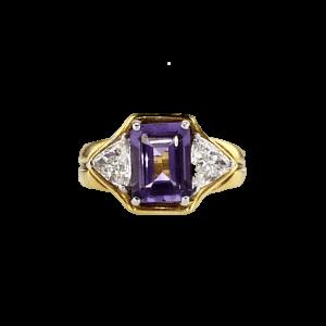 טבעת אמטיסט 2.08 קראט, זהב-צהוב 18 קראט, משובצת יהלומים