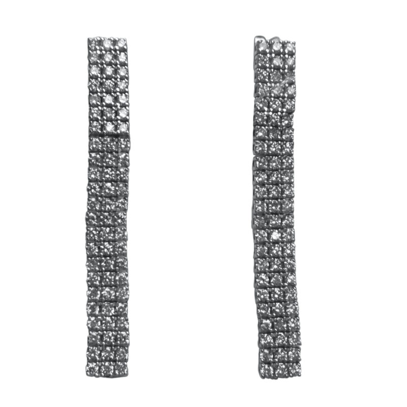 עגילי יהלומים 2.58 קראט, זהב לבן 18 קראט