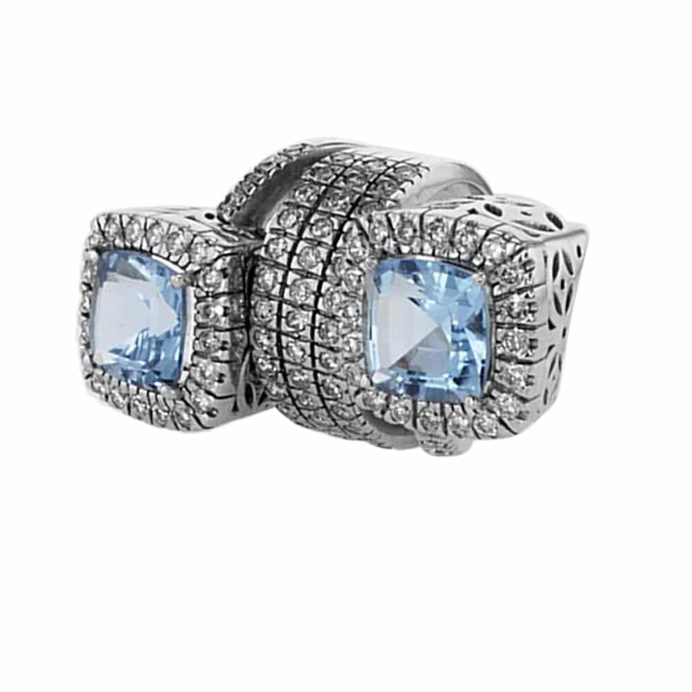 טבעת אבני בלו טופז 11 קראט, זהב-לבן 18 קראט, משובצת 3.12 קראט יהלומים