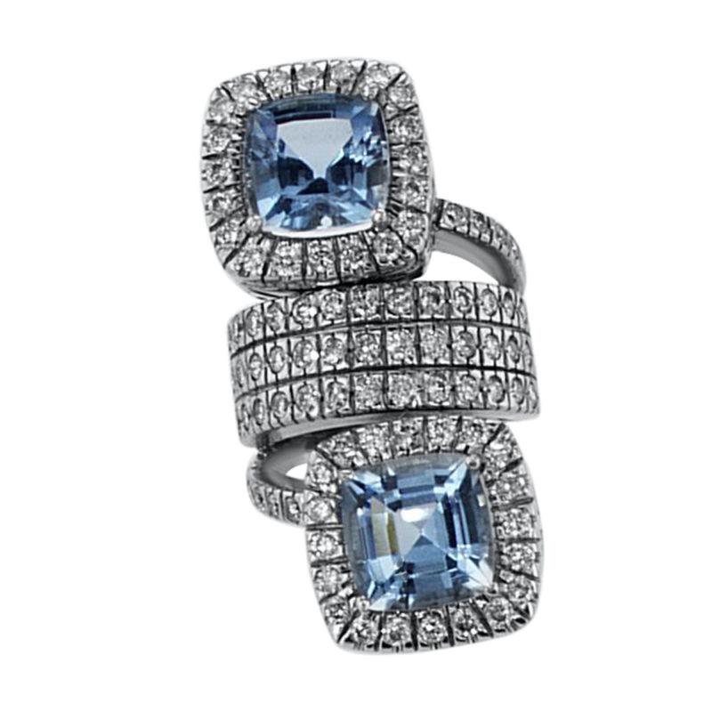 טבעת אבני טופז כחול 11 קראט, זהב-לבן 18 קראט, משובצת יהלומים