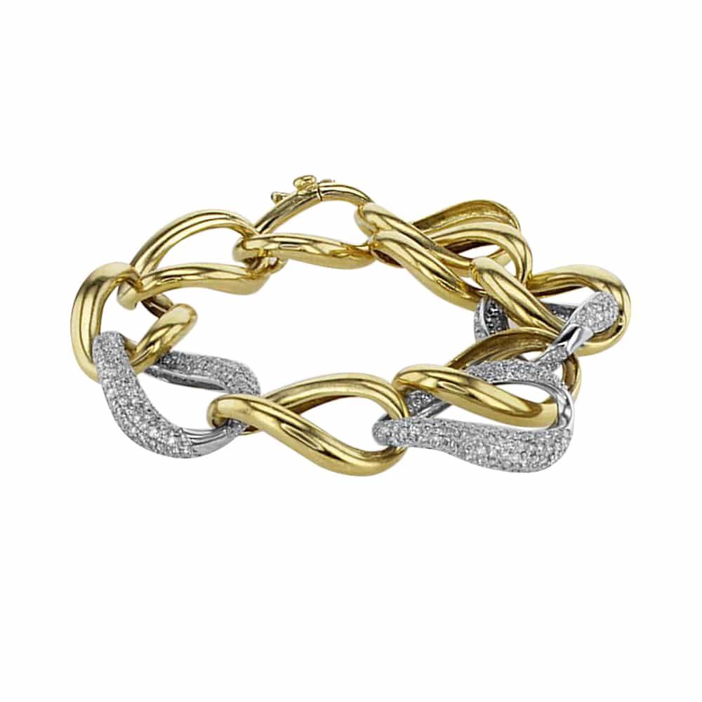 צמיד יהלומים 5.10 קראט,  זהב צהוב ולבן 18 קראט