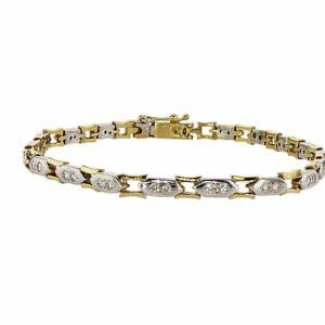 צמיד יהלומים 0.75 קראט, זהב צהוב ולבן 18 קראט