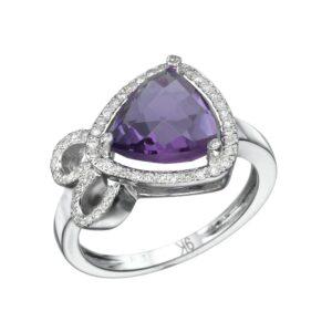 טבעת אמטיסט 2.1 קראט, זהב-לבן 9 קראט, משובצת 0.18 קראט יהלומים