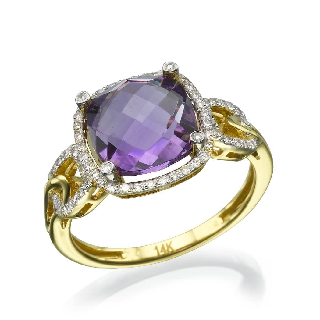 טבעת אמטיסט 3.25 קראט, זהב-צהוב 14 קראט,משובצת יהלומים