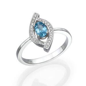 טבעת בלו טופז 0.45 קראט, זהב-לבן 14 קראט, בשיבוץ יהלומים