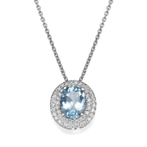 Diamond and Blue Topaz gemstones Necklace set with a 14 karat white Gold Pendant