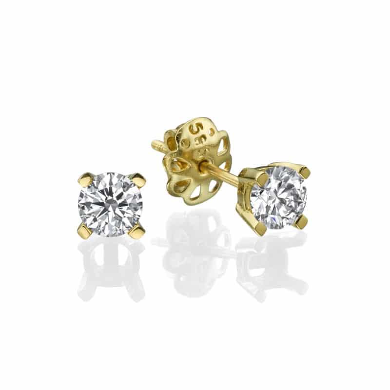 עגילי יהלום דגם דניאלה זהב לבן או צהוב 14 קראט