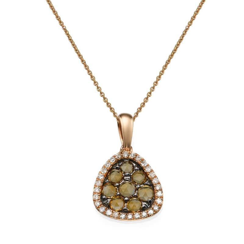שרשרת יהלומים ואבן סיטרין משובצים בתליון זהב-אדום 14 קראט