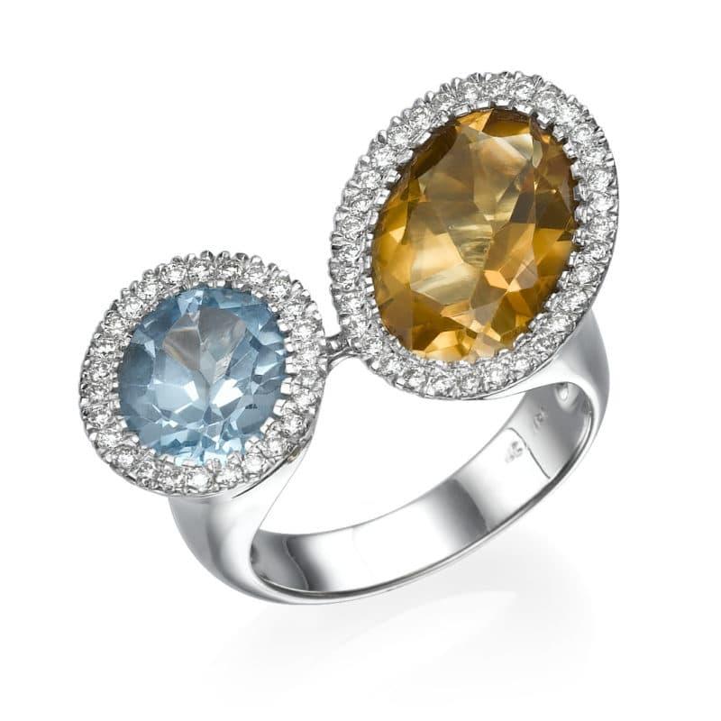 טבעת אבן סיטרין ובלו טופז 8.39 קראט, זהב-לבן 18 קראט, משובצת 0.53 קראט יהלומים