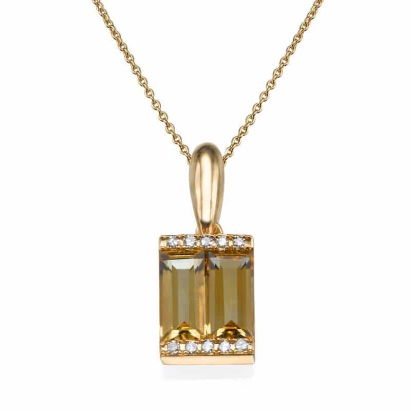 תליון אבני סיטרין 0.70 קראט, זהב-אדום 14 קראט, משובץ יהלומים