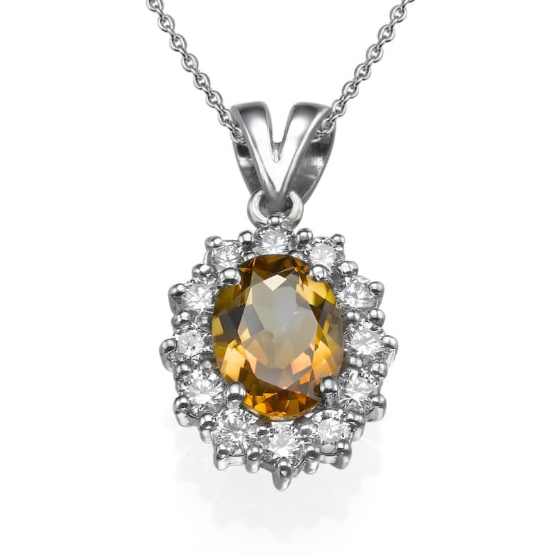 שרשרת יהלומים ואבן סיטרין משובצים בתליון זהב-לבן 18 קראט