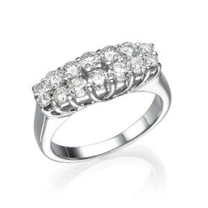 טבעת יהלום, זהב לבן 14 קראט, יהלום 1.26 קראט