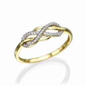 טבעת זהב-צהוב 14 קראט, בשיבוץ יהלומים